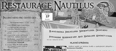 Restaurace NAUTILUS v Krmelíně - Stránky se otevřou do nového okna